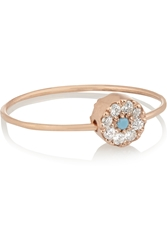 Ileana Makri Little Eye Bead 10 Karat Rose Gold Turquoise And Cubic Zirconia Ring