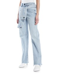 Alexander Wang Stack Tie Front Wide Leg Jeans Blue