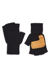 Men's Upstate Stock Fingerless Wool Gloves With Deerskin Leather Palms Blue Natural Navy