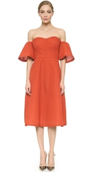 Vika Gazinskaya Shoulder Flouncy Dress Brick Red