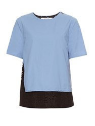 Msgm Contrast Lace Cotton Blend Poplin Top Light Blue