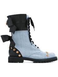 Fausto Puglisi Chambray Studded Boots Women Cotton Leather Metal Other Rubber 37 Black