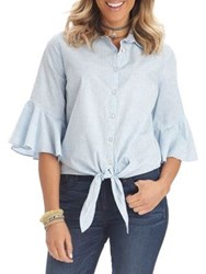 Democracy Tie Front Cascade Ruffle Cotton Button Down Shirt Blue White