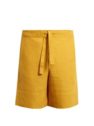 Hecho Drawstring Waist Linen Shorts Yellow
