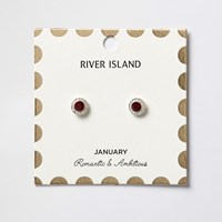 River Island Womens Red January Birthstone Stud Earrings