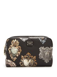Dolce And Gabbana Heart Print Zip Around Cosmetics Case Black Multi