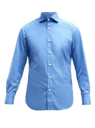 Finamore 1925 Seattle Tailored Cotton Poplin Shirt Mid Blue