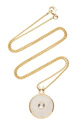 Noor Fares Inle Small Amulet Pendant In Yellow Gold With Carved Rainbow Moonstone And Rose Cut Diamond White