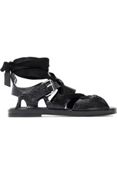 Iro Lace Up Textured Patent Leather Sandals Black