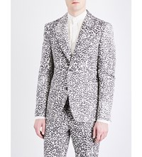 Alexander Mcqueen Regular Fit Leopard Jacquard Jacket Ivory Black