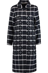 Mother Of Pearl Norine Embellished Checked Wool Blend Coat Navy