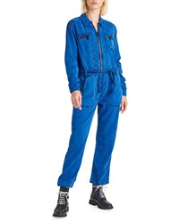 Hudson Belted Zip Front Twill Jumpsuit Blue