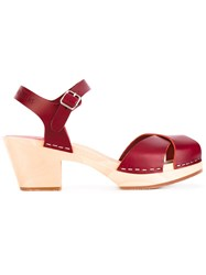 Swedish Hasbeens Mirja Sandals Women Calf Leather Leather Rubber 40 Red
