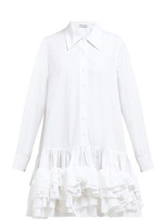 Molly Goddard Annie Ruffled Hem Cotton Dress White