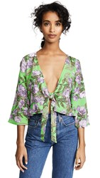 Backstage Mia Tie Front Top Green Purple Floral