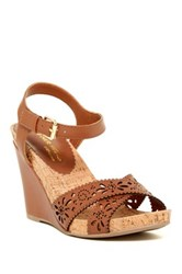 Dune Kamilla Ankle Strap Wedge Sandal Brown