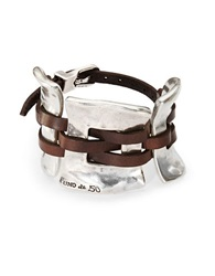 Uno De 50 Silver And Leather Cuff Bracelet Brown