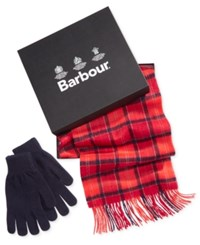 Barbour Men's Tartan Scarf And Glove Set A Macy's Exclusive Style Cardinal
