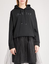 Izzue Embroidered Cotton Jersey Hoody Black