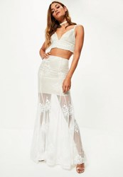 Missguided Bridal White Lace Maxi Skirt