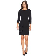 Donna Morgan Long Sleeve Crepe Dress With Asymmetrical Ruffle Skirt Black