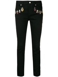 Alexander Mcqueen Embroidered Details Skinny Jeans Black