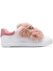 Ash Fur Strap Sneakers White