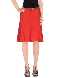 Henry Cotton's Knee Length Skirts Red