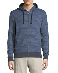 Penguin Zip Front Knit Hoodie Dark Blue