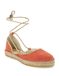 Free People Marina Lace Up Espadrille Flats Coral