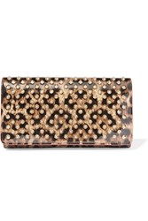 Christian Louboutin Macaron Spiked Leopard Print Patent Leather Wallet Leopard Print