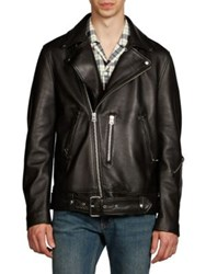 Acne Studios Nate Clean Lamb Leather Moto Jacket Black