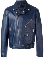 Versace Perfecto Biker Jacket Blue
