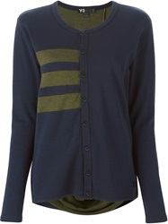 Y 3 Buttoned Jersey Cardigan Blue
