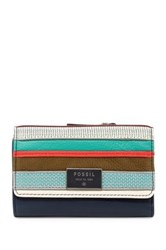 Fossil Dawson Leather Patchwork Multifunction Wallet Blue