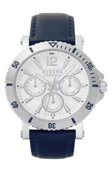 Versus By Versace Steenberg Multifunction Leather Strap Watch 45Mm Blue Silver