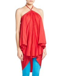 Balenciaga Pleated Halter Tie Neck Dress Red