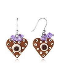 Dolci Gioie Heart Cake Earrings Brown
