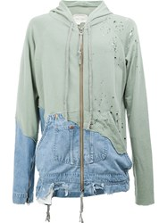 Greg Lauren Distressed Panelled Hoodie Green