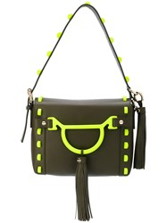 Borbonese Embroidered Shoulder Bag Women Cotton Leather One Size Green