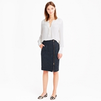 J.Crew Petite Asymmetrical Zip Pencil Skirt In Houndstooth