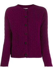 Erdem Jayelle Cashmere Fitted Cardigan Purple