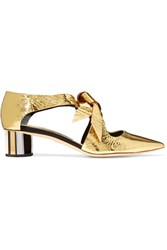 Proenza Schouler Cutout Mirrored Leather Pumps Gold