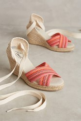 Anthropologie Pinaz Open Toe Espadrilles Red