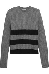 Equipment Femme Carson Intarsia Knit Wool And Alpaca Blend Sweater Gray