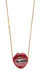 Marc Jacobs Lips In Lips Pendant Necklace Red Multi