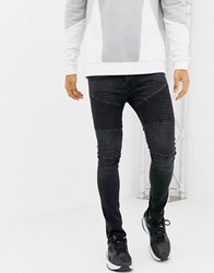 Voi Jeans Super Skinny Biker In Washed Black Black