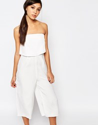 Neon Rose Crop Layer Relaxed Bandeau Jumpsuit White