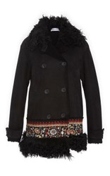 Red Valentino Shearling Coat With Embroidery Black