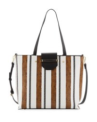 Neiman Marcus Florence Snake Embossed Striped Tote Bag Brown